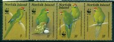 NORFOLK ISLAND 421 SG425a Used 1987 WWF Green Parrot strip of 4 Cat$18