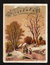 c.1890 going home in the snow Newman Bro's Organ music victorian trade card