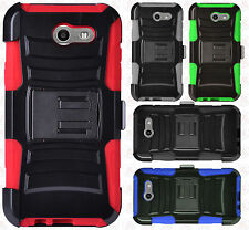 For Samsung Galaxy J3 PRIME COMBO Holster HYBRID KICKSTAND Rubber Phone Case