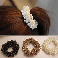 1x Women Rope Scrunchie Ponytail Holder Pearl Beads Hair Band Elastic Bracelet