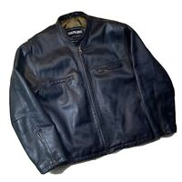 Stratojac Leather Jacket Men's Black 100% Leather Motorcycle Moto Bomber Large L