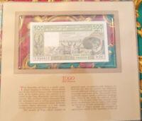RARE signature 17 1981  West African States Togo 500 Francs UNC P 806Te  Y.10