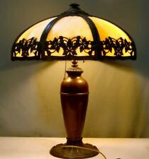 Antique Miller Lamp with Slag Glass Shade and Brass Body