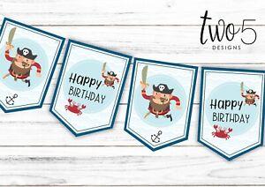 Pirate Happy Birthday Bunting  - Children's Party Decoration Banner / Garland