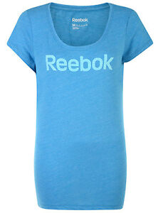 New Reebok Logo T-Shirt Top - Blue - Ladies Womens, Gym Training Fitness Yoga
