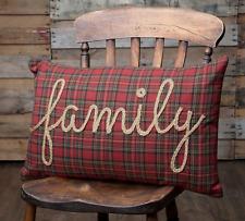 TEA STAR FAMILY Pillow Rustic Primitive Cabin Plaid Braided Jute Farmhouse Red