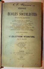 SOCIALISMO - Malon: Scuola Francese 1872 Ecoles Socialistes Francais Chevalier