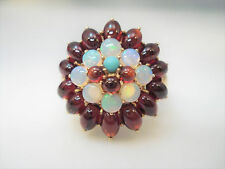 ANDY G 14K YELLOW GOLD OPAL & GARNET FLOWER CLUSTER RING SIZE 6.5