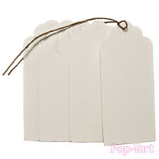 20 x Kraft Paper Gift Tags Blank White Scallop Wedding Luggage Labels + String
