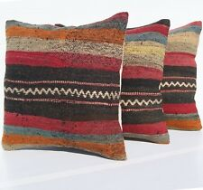 "TURKISH KILIM RUG PILLOW COVERS 16"" SQUARE WOOL HAND WOVEN ROME DECOR AREA RUGS"
