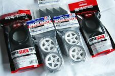 TAMIYA 1/10 RC CAR TIRE(53220)+WHEEL(50672) Super Slick Tires,Plated Rim wheel