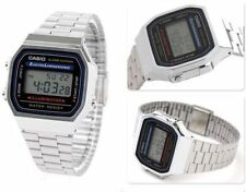 Casio A168W  Retro Silver Metal Band Illuminator Chronograph Mens Watch A-168