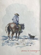 GERALD TAILFEATHERS Listed WESTERN WATERCOLOR 'Cowboy on the Range' c.1950