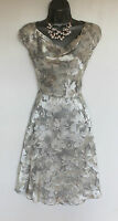 MONSOON Ivory Silver Floral Print Cowl Neck Silk Wedding Bridal Party Dress UK12