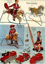 1960 PAPER AD Knickerbocker Ride On Jumbo Crane Eldon Em Fire Engine Ideal Tank