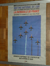 Affiche Meeting de l'Air Patouille de France à Tour  1991   poster avion  plane