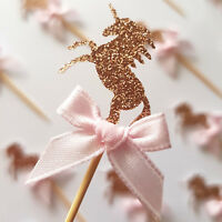 12 Rose Gold Glitter Unicorn Cupcake Toppers w Pink Ribbon | Party Decorations