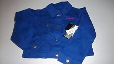 NWT Girls $44 Baby Phat Adorable Dark Blue Button Front Logo Jacket Size 4