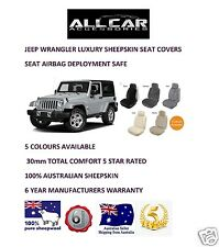 Sheepskin Car Seatcovers for Jeep Wrangler, Seat Airbag Safe, 5 Colours.30mm TC