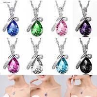 Women Pendant Necklace Jewelry Gift Fashion Silver Chain Crystal Rhinestone