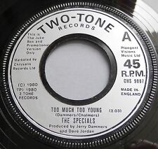 """The Specials - Too Much Too Young UK Two Tone Promotional 7"""" Single"""