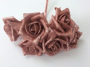 Glitter Artifical Roses All Colours Wedding Buttonholes or Bouquets