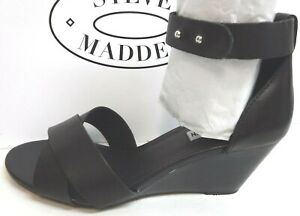 Steve Madden Size 8.5 Black Leather Wedge Sandals New Womens Shoes