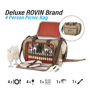 Deluxe 4 Person Picnic Bag Complete Set Cutlery Plates Utensils Glasses Opener
