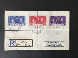 BRITISH SOLOMON ISLANDS 1937 CORONATION REGISTERED COVER TO GB  SYDNEY B/S