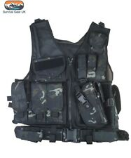 BTP Black Cross Draw Tactical Vest Security Airsoft Paintball Webbing Airsoft