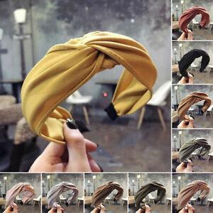 Women Headband Twist Hairband Bow Knot Cross Tie Wide Headwear Hair Band Hoop #
