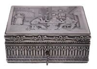 French Art Nouveau Antique Silver Etched Trinket Jewelry Sewing Box with Key