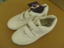 Nwb Supremes by Soft Spots Unisex 10Ww White Leather Glide Double Strap #315304
