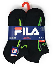 Fila Boys No-Show Socks with Swift Dry Size 9-11 in Black with Assorted Stripes
