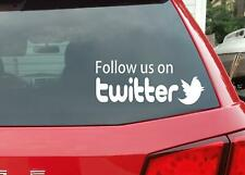 Blanco Síganos en Twitter de alta calidad premium de vinilo calcomanía auto adhesivo