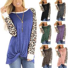 Women Long Sleeve Crew Neck Leopard Print T Shirt Casual Loose Blouse Tunic Tops