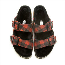 Men Birkenstock Arizona Wool Shearling Adjustable Slide Sandals Fur Lining NEW
