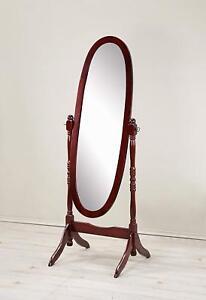 Free Standing Full Length Floor Mirror Cherry Finish Wood Bedroom Dressing