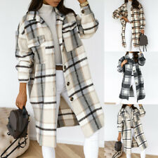 Damen Winterjacke Karo Jacke Longline Plaid Mantel Hemd Bluse Oberbekleidung