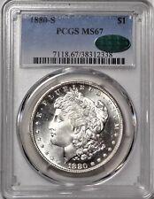 1880-S $1 PCGS MS 67 CAC Superb Gem UNC Looks PL Proof Like Morgan Silver Dollar