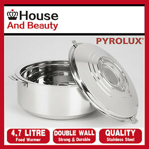 NEW Pyrotherm Pyrolux Stainless Steel Double Wall Food Warmer Hot Pot 4.7 Litre
