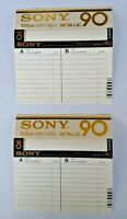 SONY METALLIC 90 COMPACT AUDIO CASSETTE J CARD LOT OF 2 UNUSED NOS ULTRA RARE