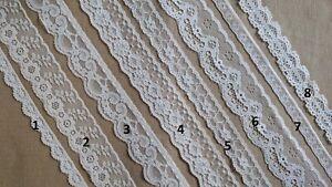 10m Vintage Flower WHITE ORGANZA Lace Trim Wedding Ribbon Applique Sewing Craft