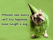 QUOTE TYPE TEXT GRAPHIC HAPPINESS DOG PARTY HAT 18X24 '' POSTER ART PRINT LF175
