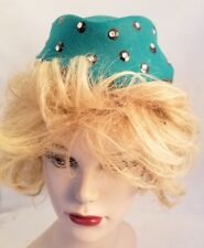 Vintage Green Excello Hat 100% Wool Prong Set Rhinestones on Black Sequins USA