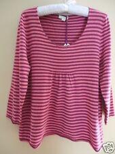 GARNET HILL Pure Cashmere Tunic Sweater Ladies L NEW Pink Plum Stripes $158