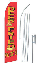 Deep Fried Food Banner Flag Sign Display Complete Kit Tall Business Advertising