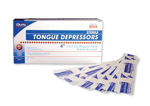 NEW BOX of 100 STERILE TONGUE DEPRESSORS / TONGUE BLADES