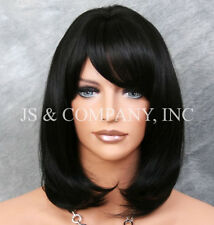 Human Hair Blend Wig Straight Face Framing Off Black Heat Safe w. Bangs 1B WMA