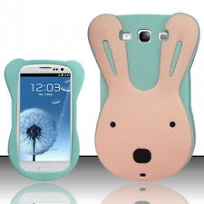 For Samsung Galaxy III 3 Rubber SILICONE Skin Gel Case Phone Cover Teal Rabbit